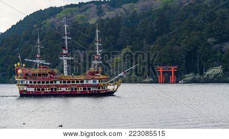 Red Pirate Ship On Ashi Lake, Hakone