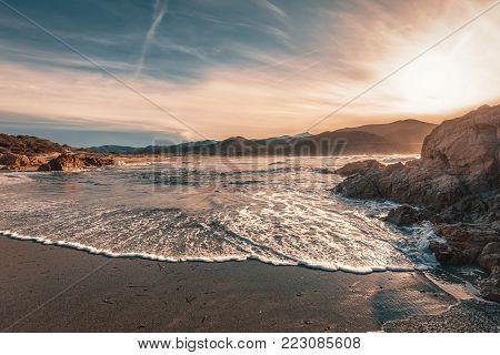 Coast Of Desert Des Agriates At  Ostriconi Beach In Corsica