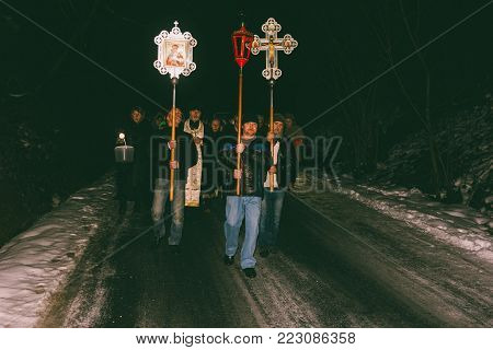 Adygea, Russia - January 19, 2018: Night Orthodox procession on the feast of the Epiphany