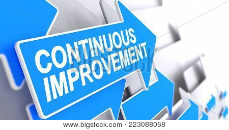 Continuous Improvement, Inscription on the Blue Cursor. Continuous Improvement - Blue Cursor with a Message Indicates the Direction of Movement. 3D Illustration.