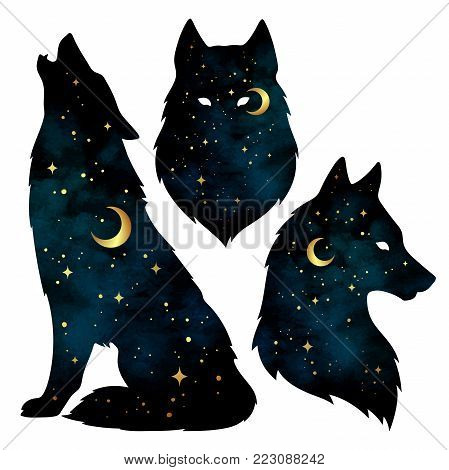 Set of wolf silhouettes with crescent moon and stars isolated. Sticker, print or tattoo design vector illustration. Pagan totem, wiccan familiar spirit art. poster