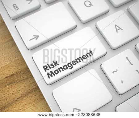 Aluminum Keyboard with Risk Management White Keypad. Business Concept with Modernized Enter White Key on the Keyboard: Risk Management. 3D Illustration.