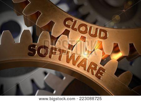 Cloud Software on Mechanism of Golden Gears with Glow Effect. Cloud Software Golden Metallic Cogwheels. 3D Rendering.