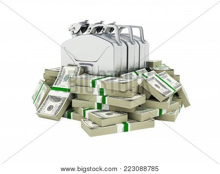 Gas canisters surrounded by 100 dollar bankrolls Concept of gasoline prices Gas canister in pile of money american dollar bills isolated on white background 3d without shadow