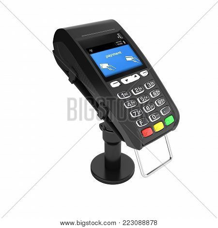 card payment terminal POS terminal isolated on white background without shadow 3d render