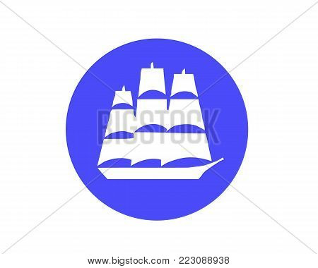 White old detailed sailing ship isolated on blue background