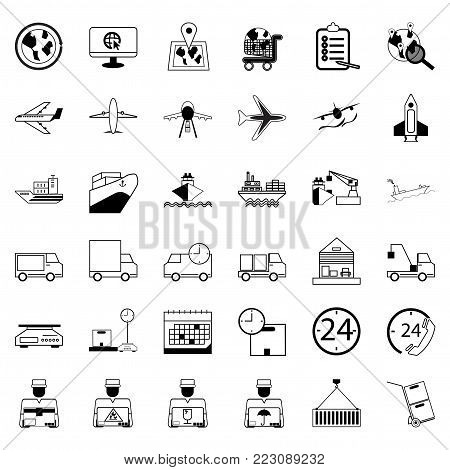 36 Icons. Delivery Shopping and Ecommerce Logistics Set of outline vector icon. Includes such as Air Freight, Sea Freight, Online Marketing, Express Delivery, Cargo Ship and other.64x64 Pixel Perfect.