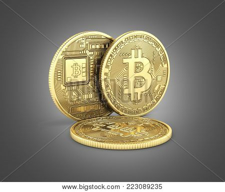 Bitcoin 3D isometric Physical bit coin in gold Digital currency Cryptocurrency Golden coins with symbol isolated on black gradient background 3d render illustration