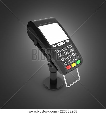 card payment terminal POS terminal with empty screen isolated on black gradient background 3d render