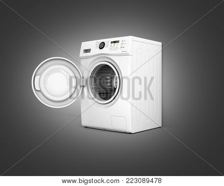 Washing machine with an open door on black gradient background 3d illustration