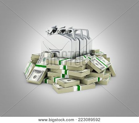 Gas canisters surrounded by 100 dollar bankrolls Concept of gasoline prices Gas canister in pile of money american dollar bills isolated on grey gradient background 3d