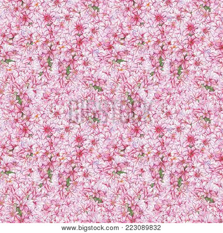 Watercolor pink hyacinth flower nature plant seamless pattern texture background