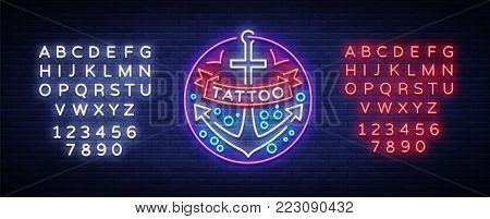 Tattoo salon logo in a neon style. Neon sign, emblem, anchor symbol, luminous billboard, neon advertising on a tattoo theme, for tattoo salon, studio. Vector illustration. Editing text neon sign.