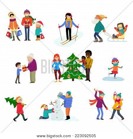 Winter holiday vector cartoon family characters kids play in wintertime with xmas tree and gifts for celebrating Christmas family illustration isolated vacation people in sport activity ski skate.