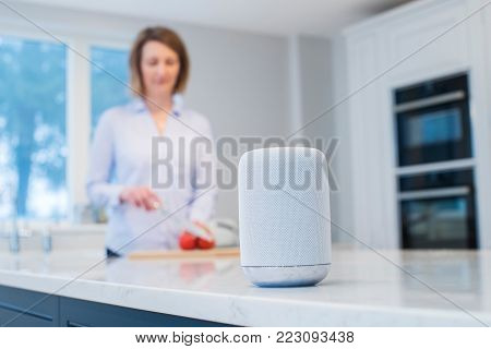 Woman Working In Kitchen With Smart Speaker In Foreground poster