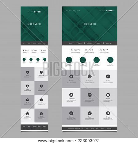 Responsive One Page Website Template - Header Design with Abstract Background - Desktop and Mobile Version