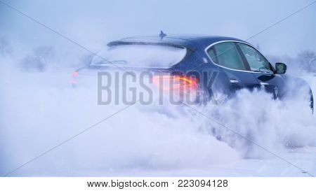 Snowy Road In Forest With Car By And Making A 180 Turn Slow Motion . Car Is Making A Drift In The Sn