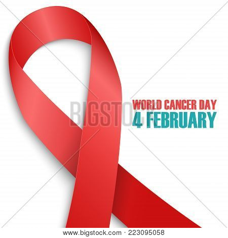 World Cancer Day, 4 february awareness day card. Realistic red ribbon on white background. Vector illustration.