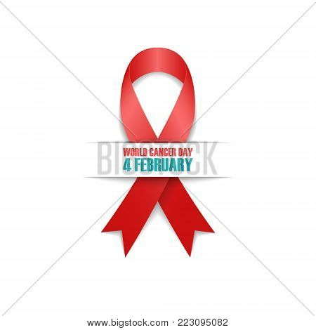 World Cancer Day, 4 february card with realistic red awareness ribbon. Vector illustration.