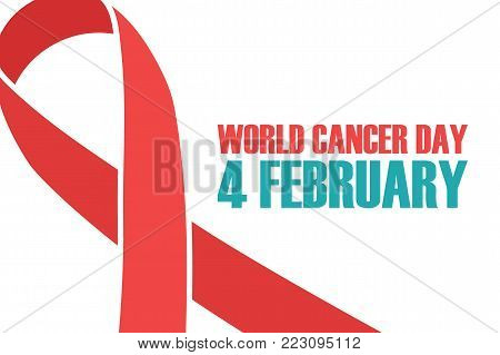World Cancer Day, 4 february background with red awareness ribbon. Vector illustration.