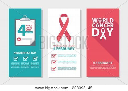 World Cancer Day, 4 february awareness day flyers set. Vector illustration.