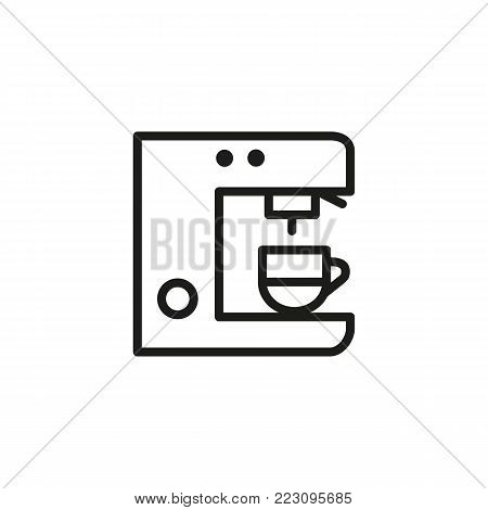 Icon of coffeemaker. Coffee machine, cup, brewer. Coffee shop concept. Can be used for topics like modern appliance, automation, comfort, home