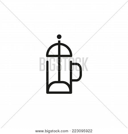 Icon of french press. Plunger, coffee pot, tea. Brewing concept. Can be used for topics like device, preparing coffee, drink, cafe