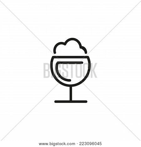 Icon of frothy drink. Wineglass, party, foam. Cocktail concept. Can be used for topics like bar, pub, beer