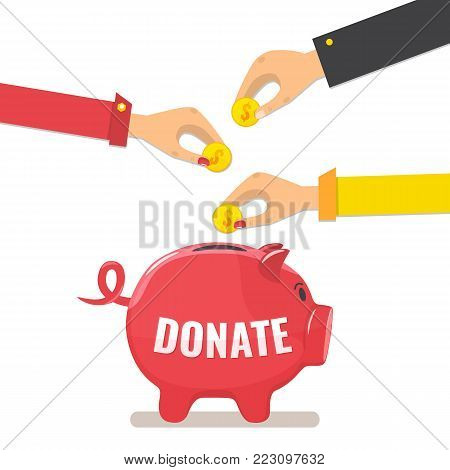 Hands throws gold coins in a piggy bank for donations. Donation box. Donate, giving money concept. Vector illustration