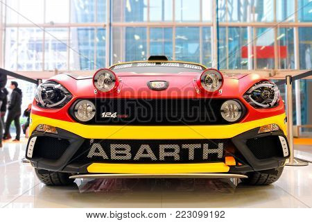front view of a Fiat Abarth 124 rally, tuned sport cars in Turin, Italy, Dec 03 2016