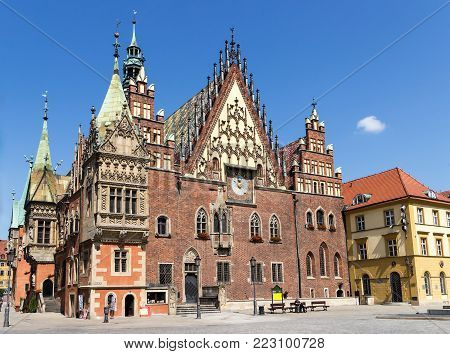 Wroclaw, Poland - July 6, 2014: Old Town Hall on Market Square in Wroclaw city.