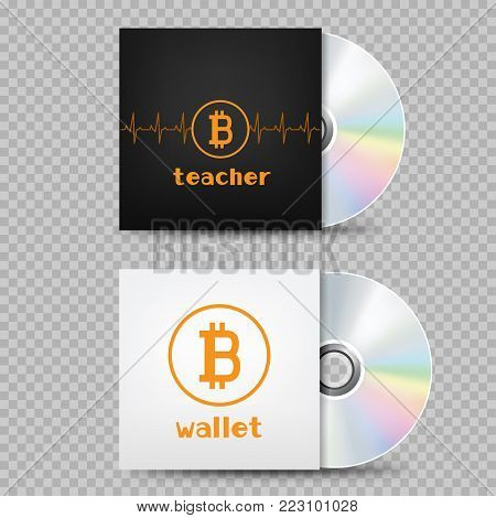 White and black crypto currency bitcoin standing compact disk template with shadow on transparent background. Education e-commerce wallet internet mining blockchain teach and learn object