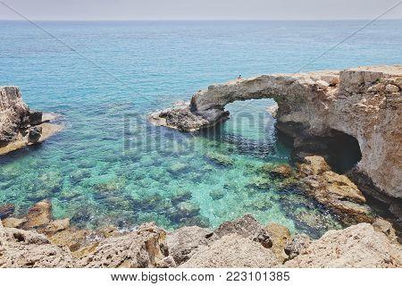 Monachus Monachus Arch. Cavo greco cape. Ayia napa, Cyprus. Mediterranean sea landscape