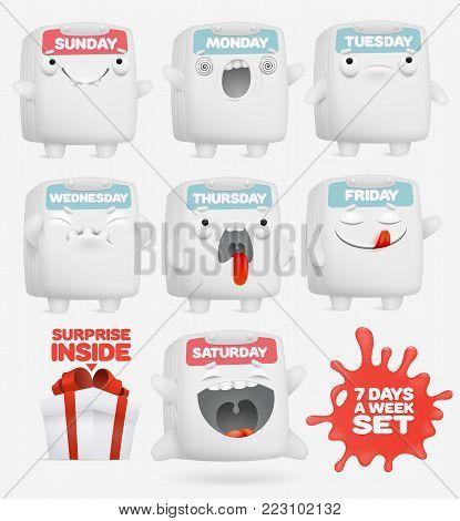 set of cartoon emoji calendar characters. 7 days of week concept. vector illustration