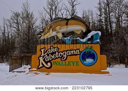 LAKE KABETOGAMA, January 20, 2018:  The leaping' Walleye Fish fiberglass statue established in 1949 is managed by the Kabetogama Lake Association.