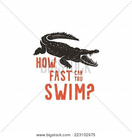 Crocodile logo template. Symbol of alligator. Crocodile with text. Wild animal typography badge design. Vintage hand-drawn insignia, stamp. Stock vector illustration isolated on white background.