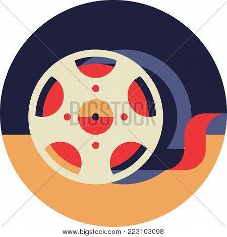 Film Lent Bobbin Icon in Flat Style