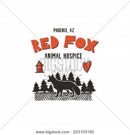 Animal hospice badge design. Vintage hand drawn logo. Typography retro style. Letterpress efect. Stock vector illustration isolated on white background.