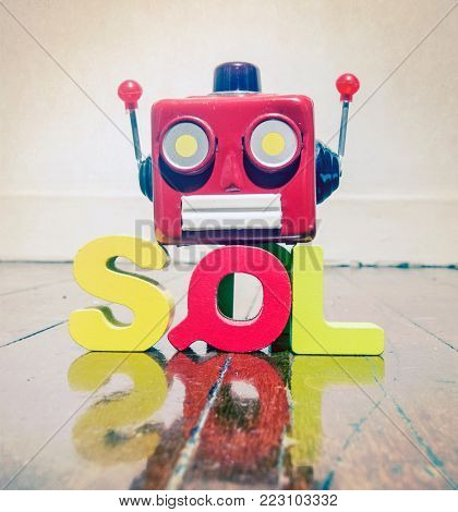 the acronym SQL with a robot head  on a wooden floor with reflection