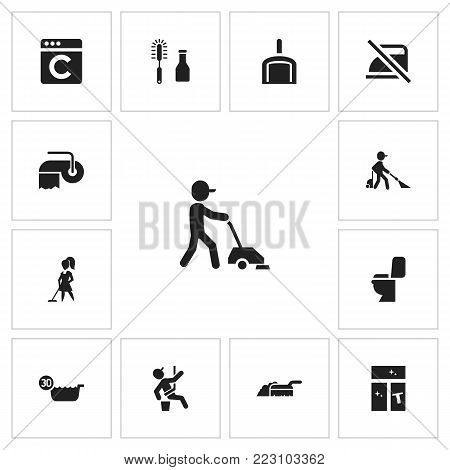 Set of 13 editable hygiene icons. Includes symbols such as dustpan, chemical cleaning, window cleaner and more. Can be used for web, mobile, UI and infographic design.