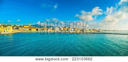 San Vincenzo beach and seafront panoramic view. Sea travel destination, Tuscany, Italy.