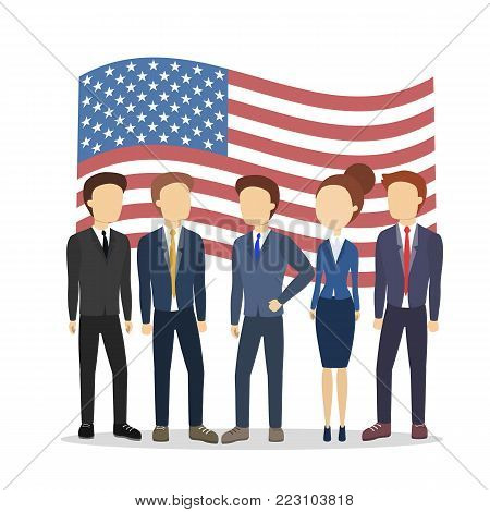 American politician with flag. People standing together.