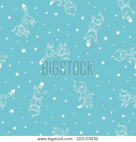 Funny cat astronaut in space, vector seamless pattern. Cat as a cosmonaut, space suit, funny seamless pattern, design for kids
