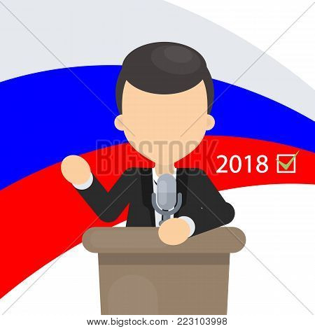 Politician on tribune. Speaker on Russian elections.