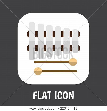 Vector illustration of sound symbol on xylophone icon flat. Premium quality isolated sticks element in trendy flat style.