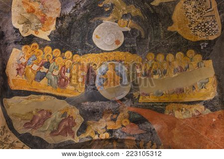 ISTANBUL, TURKEY - APRIL 29, 2016: Frescoes representing the day of judgement in the  Church of Chora in Istanbul, Turkey.