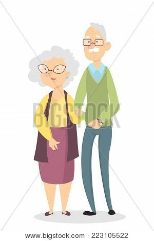 Isolated old couple standing on whte background.
