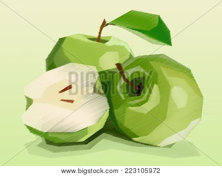 Vector Illustration Graphic Arts Sketch Of Drawing Fruit Green Apples With Half.