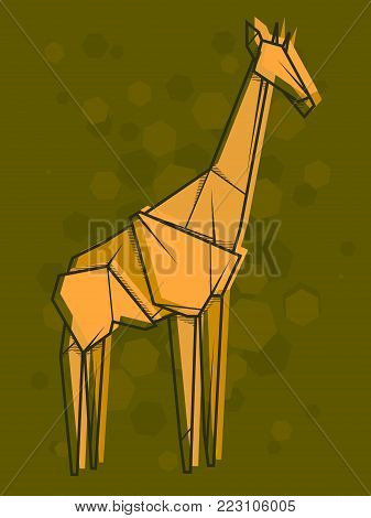 Vector abstract simple illustration drawing outline giraffe.