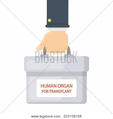 Human organs for transplant. Hand holding cooler box.
